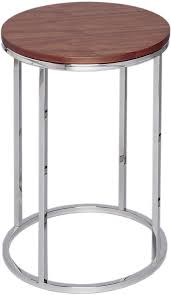 circular side table with walnut top and steel base kensal range
