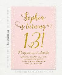 13th Party Invitations 13th Birthday Invitation For Girl Pink Gold Teen Birthday Party Invitations Blush Pink Gold Glitter Rustic Chic Shabby Confetti Printable