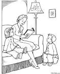 Дети с книгой раскраска