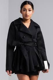 front view noir frill hem trench coat in black