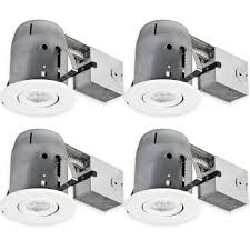 5 led ic rated swivel round trim recessed lighting kit 4 pack white finish dimmable easy install push n clips led bulbs included 4 25 hole size