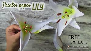 Diy Lily Flower From Printer Paper Free Template So Simple Youtube