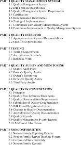 Quality Of Work Example 5 Example Table Of Contents For Quality Management Plans For A D B