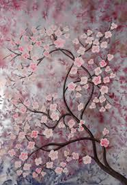 saatchi art artist ksavera art painting large sakura tree cherry blossom silver painting