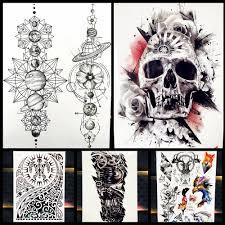 большой боди арт рукава рукава временные татуировки наклейки Fast Furious татуировка