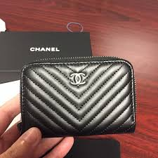chanel zip coin purse. sold--chanel chevron zip card coin wallet chanel purse