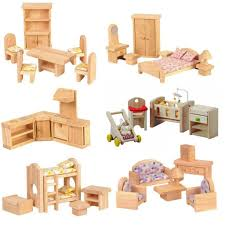 cheap wooden dollhouse furniture. 6 Room Dollhouse Furniture Set-Elves \u0026 Angels Cheap Wooden