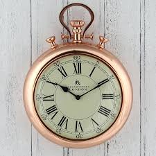 copper wall clock large shiny metal stopwatch design