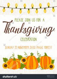 Pumpkin Invitations Template Vector Thanksgiving Invitation Template Invite Harvest Stock Vector