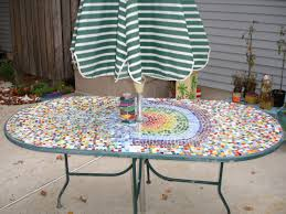 Lovely Custom Oval Patio Table With Appealing Colorful Mosaic Tiles  Ornament Top Metal Base And Striped