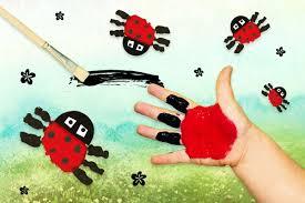 Marienkäfer Malen Mit Fingerfarben Basteln Basteln Frühling