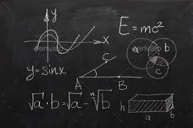 Math Formulas On Black Chalkboard
