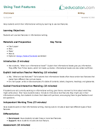 Text Features Chart Worksheet Bedowntowndaytona Com