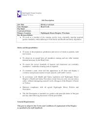 Resume Template Free 2018 Impressive Kitchen Staff Job Description For Resume Of Cook Cook Description