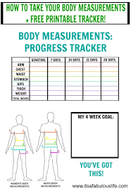 Inches Lost Chart Printable Body Measurement Chart For Weight Loss