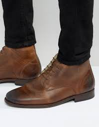 asos chukka boots in brown leather with fleece lining