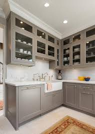 White painted kitchen cabinets Modern Gray Painted Kitchen Cabinets With Ann Sacks Subway Tiles Decorpad Gray Painted Kitchen Cabinets With Ann Sacks Subway Tiles