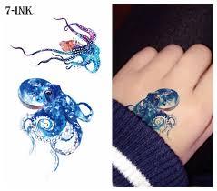 Vodotěsný Dočasné Tetování Nálepka Barevné Moře Chobotnice Tetování