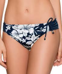 Dorina Dark Blue Floral Ruched Side Haiti Bikini Bottoms