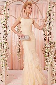champagne bridal dress in chiffon and lace by elliot claire london
