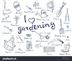 garden hand tools names. hand drawn doodles of gardening tools, plants, pests in blue color and with names garden tools o