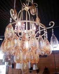 golden chandelier with golden glass pendants