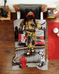 Firefighter Twin Comforter Set Fireman Bedding Gray Red For Boy
