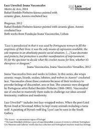 Lace Unveiled: Joana Vasconcelos by V21 Artspace - issuu