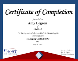 Certificate Of Completion Training Gorgeous Amy Legron Certificate Honda Managing Conflict