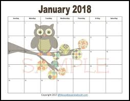 printable calanders free 2018 monthly printable calendars owl themed blessed beyond