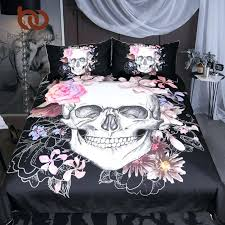 sugar skull bedding set fl bed duvet cover black modern microfiber bedspreads queen king chenille contemporary