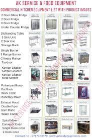 commercial kitchen equipment list