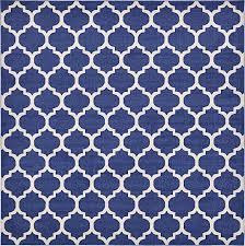 Dark Blue 10 x 10 Trellis Square Rug Area Rugs