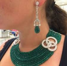 Cz <b>925 sterling silver Beautiful</b> Green Beads Round Baguette Collar ...