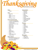 Thanksgiving Grocery List Template Thanksgiving Grocery List Printable Familyeducation