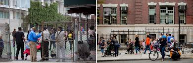 pas and students at public 8 elementary right in brooklyn heights and at public 307 left in dumbo brooklyn
