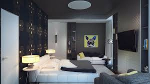 bedroom small space grey with artistic wallpaper and white accent colors twin drum shade table lamp