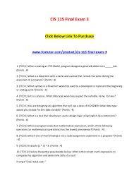 Cis 115 Final Exam 3 Sets Of Answers Cis 115 Final Exam 3