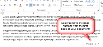 How To Omit The Page Number From The First Page Of A Word 2013