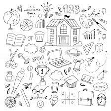かわいい学校落書きイラスト学校手描きアイコンと記号に戻って歓迎