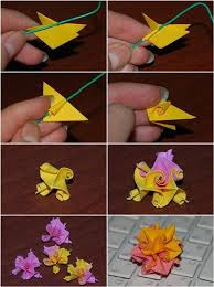 How To Make Flower With Paper Folding Kusudama Curl Flower Folding Instructions Origami Instruction How
