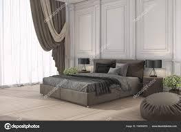 3d Rendering Klassisches Bett Im Klassischen Schlafzimmer Mit