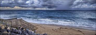 cloudy day at the beach facebook cover