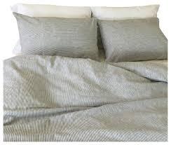 black and white ticking striped duvet cover set handmade linen full queen