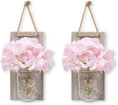 Cream Rose Fairy Lights Details About Stress Junkie Hanging Mason Jar Wall Decor Sconce With Led Fairy Lights Rustic