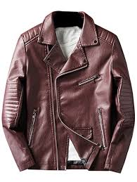 asymmetrical zip faux leather jacket wine red 3xl