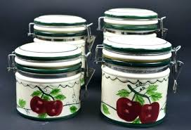 country canister sets for kitchen unique apple canisters ceramic vintage the red cerami