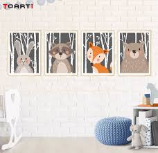 <b>Cartoon canvas</b> poster <b>Woodland animals</b> fox bear wall painting for ...