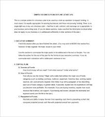 Sample Business Plan Outline Small Business Loan Summary Template Business Plan Outline Template