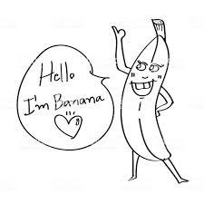 Schattig Banaan Hand Getrokken Cartoon Karakter Doodle Stijl Met